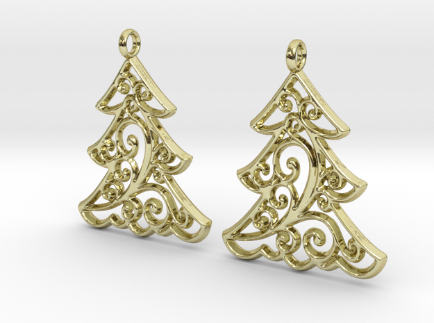 Christmas Tree Earrings in 18k Gold Plated Brass