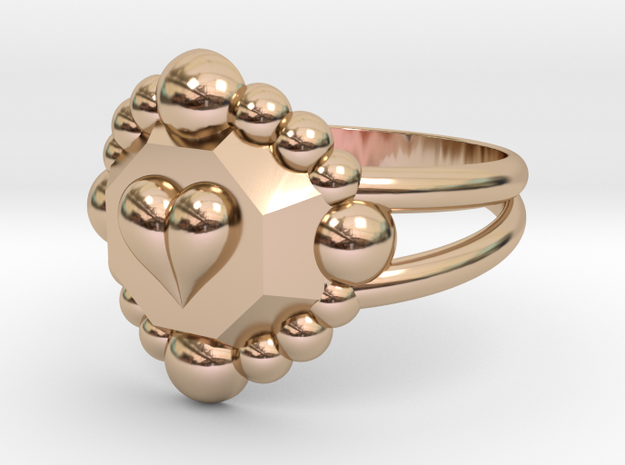 Size 8 Diamond Heart Ring E in 14k Rose Gold Plated Brass