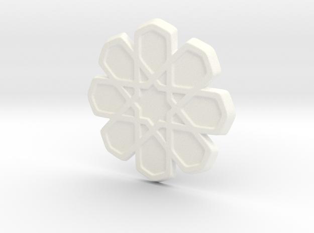 Moroccan Coaster in White Processed Versatile Plastic