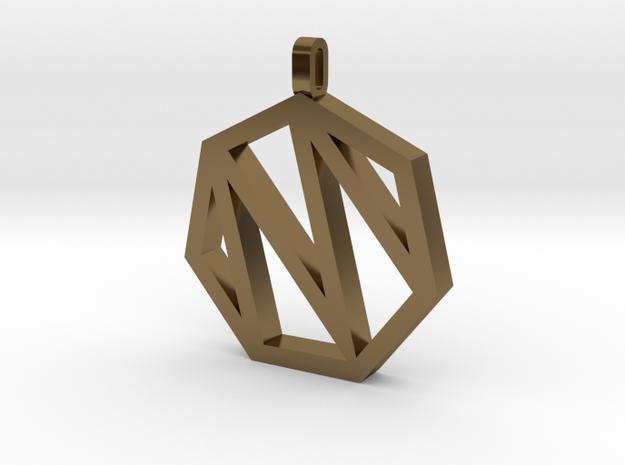 Heptagon Monogram Pendant (customizable) in Polished Bronze