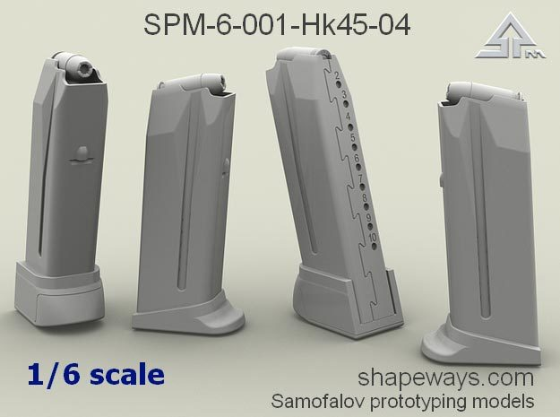 1/6 SPM-6-001-Hk45-04 H&K 45 mags in Smoothest Fine Detail Plastic