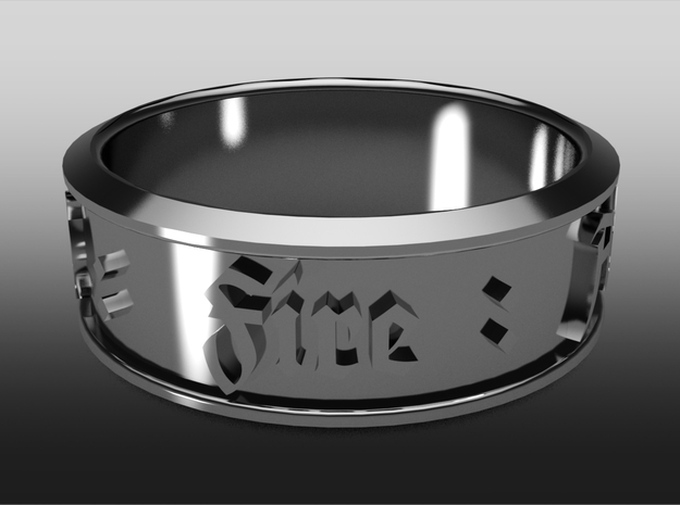 Ring old english - Fire : Air : Water : Earth 3d printed Fire