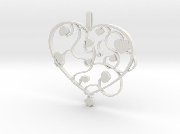 Heart jewellery in White Natural Versatile Plastic