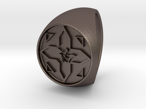 Custom Signet Ring 11 in Polished Bronzed Silver Steel