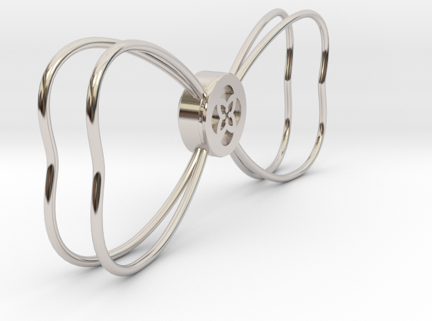 TU Bow Tie Outline in Rhodium Plated Brass