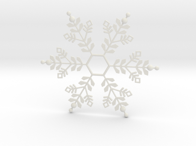 Snowflake Pendant 1 in White Strong & Flexible
