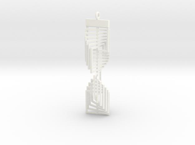 Square Twist Ornament Pendant in White Processed Versatile Plastic