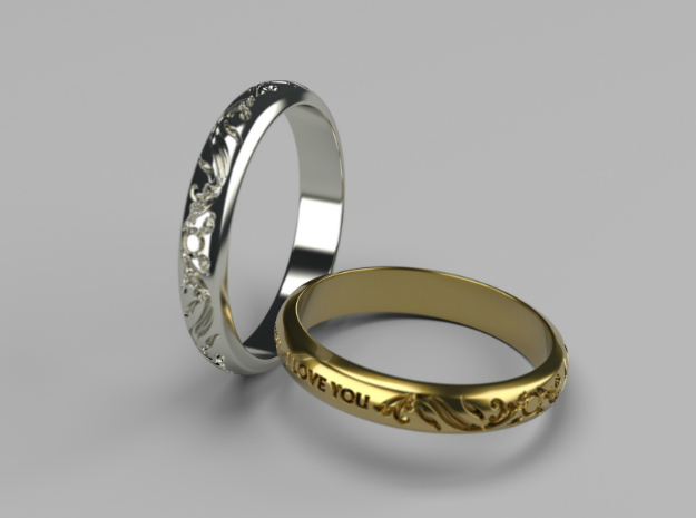 Ring Ornament love you in Platinum