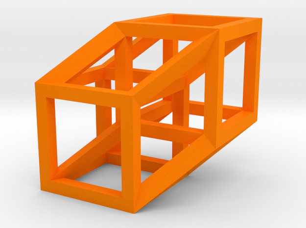 Hypercube in Orange Processed Versatile Plastic