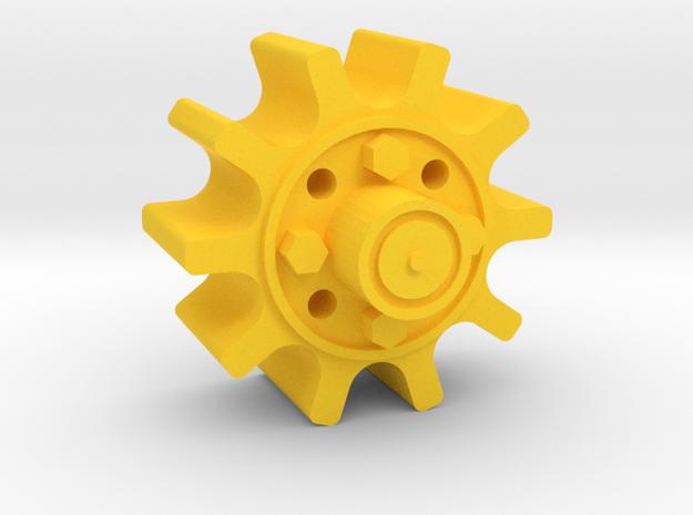 Drive Hub-6 in Yellow Processed Versatile Plastic
