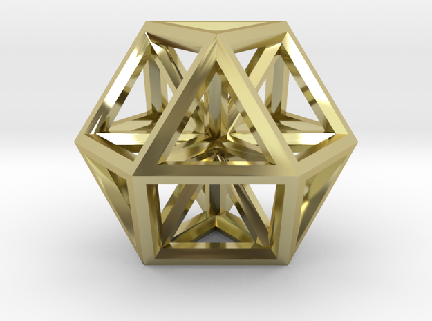 Vector Equilibrium 35.25 mm in 18k Gold Plated Brass