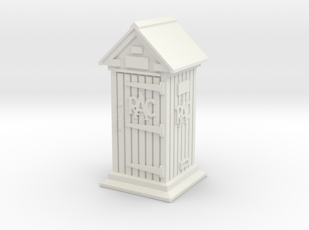35mm/O Gauge RAC Phone Box in White Natural Versatile Plastic