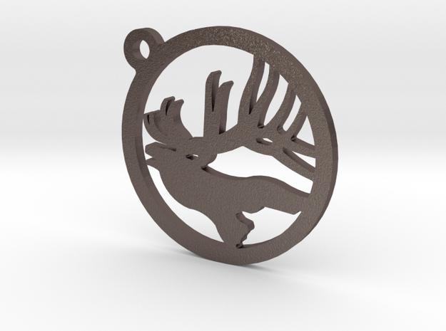 Elk Keychain 1 in Stainless Steel