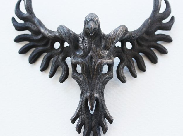 Rebirth Phoenix & Bull Skull Pendant: Large in Polished and Bronzed Black Steel