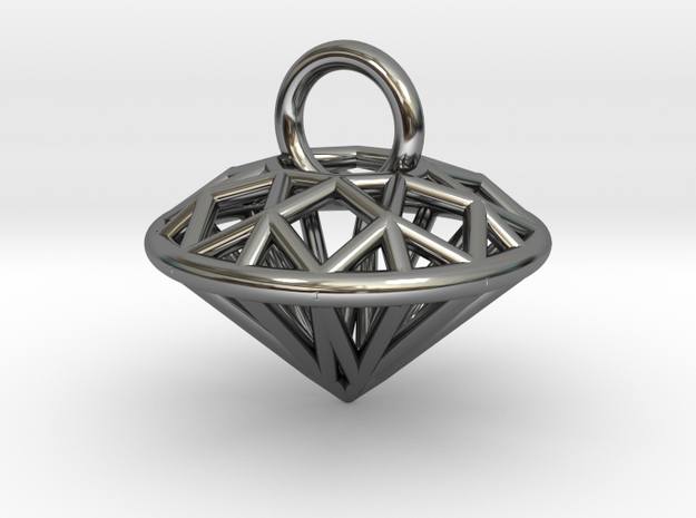 3D Printed Diamond is My Best Friend Pendant Small in Fine Detail Polished Silver