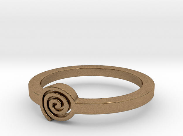 Spiral Ring Ring Size 8 in Natural Brass