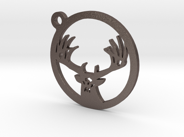 White tail keychain 1 in Polished Bronzed Silver Steel