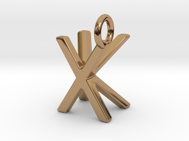 Two way letter pendant - KX XK in Polished Brass