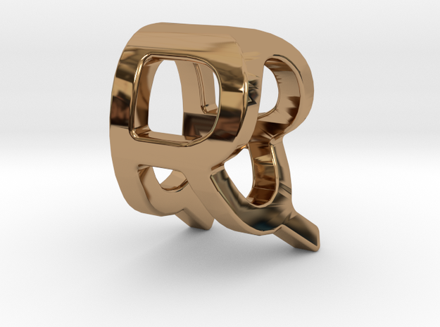 Two way letter pendant - QR RQ in Polished Brass