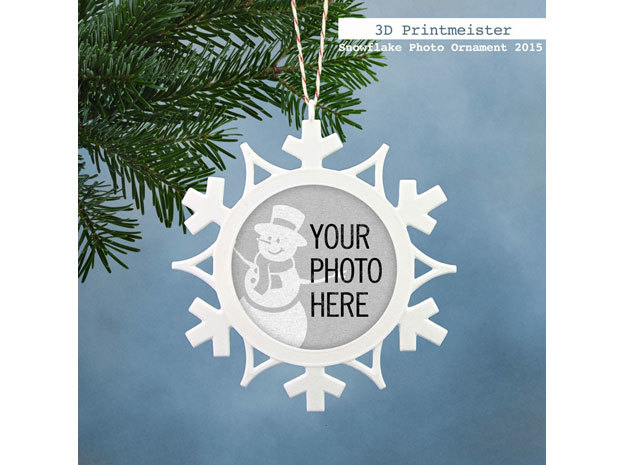 Christmas Snowflake Photo Ornament in White Strong & Flexible Polished