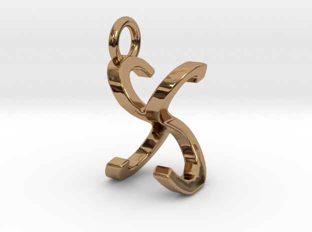 Two way letter pendant - SX XS in Polished Brass