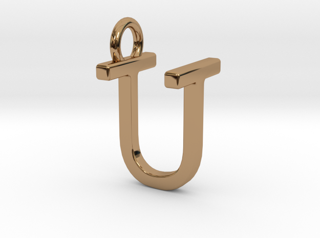 Two way letter pendant - TU UT in Polished Brass