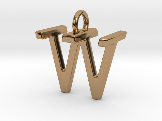 Two way letter pendant - TW WT in Polished Brass