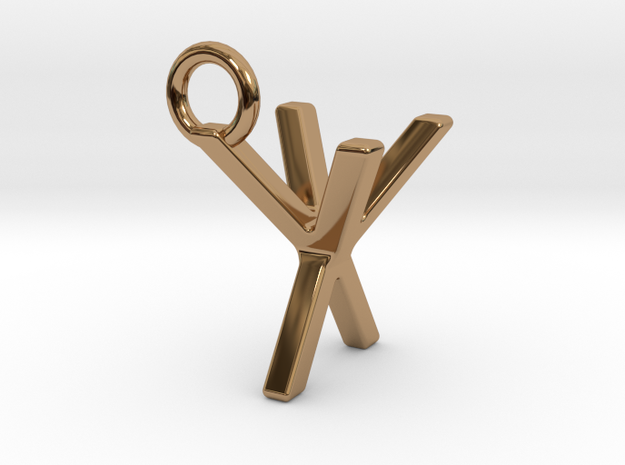 Two way letter pendant - XY YX in Polished Brass