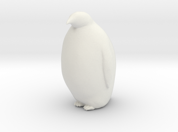 Penguin Looking Ahead in White Natural Versatile Plastic