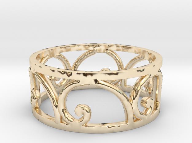 Golden Spiral Ring Size 7 (6 normal spirals) in 14k Gold Plated Brass