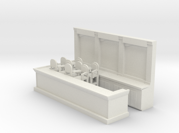 Bar & 8 Stools - HO 87:1 Scale in White Natural Versatile Plastic