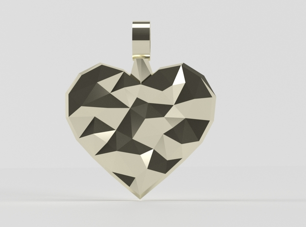 Heart of Polys pendant in 14k Gold Plated Brass