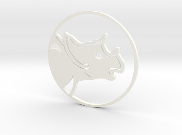 Triceratops Coin in White Processed Versatile Plastic