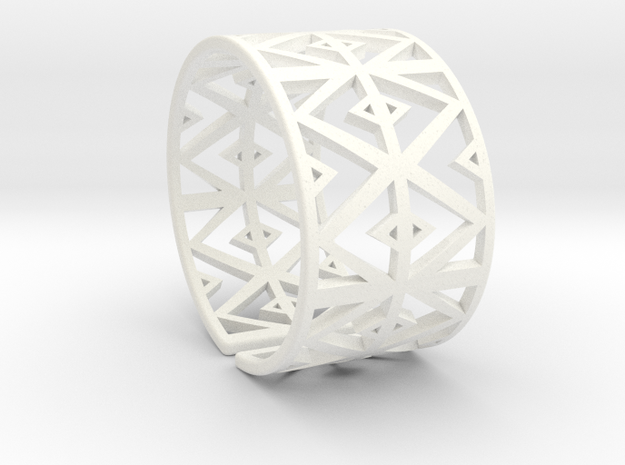 Patterned Cuff Detail 2 in White Strong & Flexible Polished