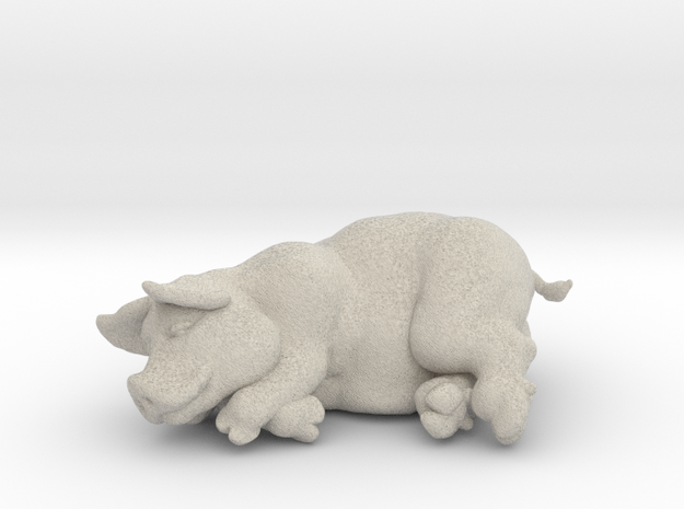 """SLEEPING PIG 2 """" tall in Natural Sandstone"""