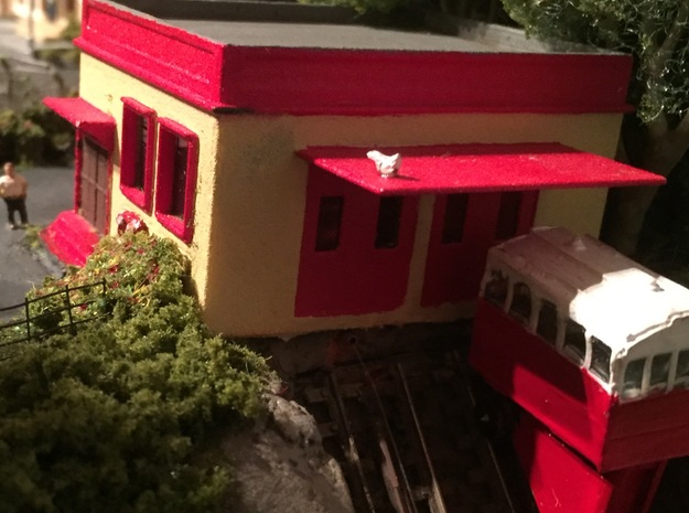 N Scale Funicular Railway Top Station in White Natural Versatile Plastic