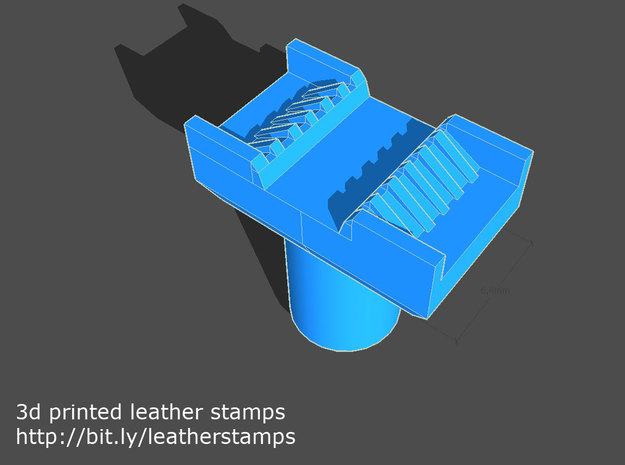 Leather stamp 1 + tool, for basketweave pattern to in Blue Processed Versatile Plastic