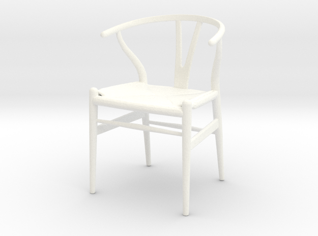Hans Wegner Wishbone Chair - 1/18 Lundby Scale in White Strong & Flexible Polished