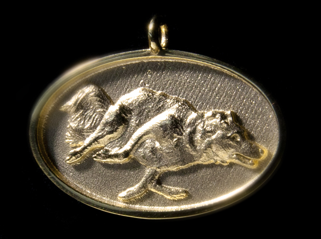 "Agility Dog Pendant - 1 1/4 "" Border Collie. in 18k Gold Plated"