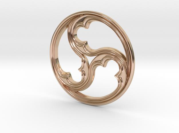 Triskele for geobiology in 14k Rose Gold Plated