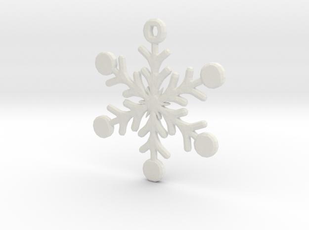 Snowflake Earring/Pendant in White Strong & Flexible