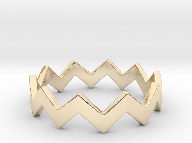 Zig Zag Wave Stackable Ring Size 6 in 14K Yellow Gold