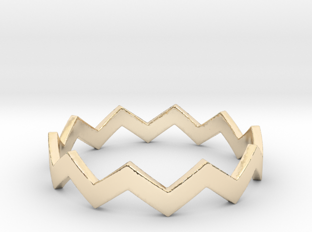 Zig Zag Wave Stackable Ring Size 11 in 14K Yellow Gold