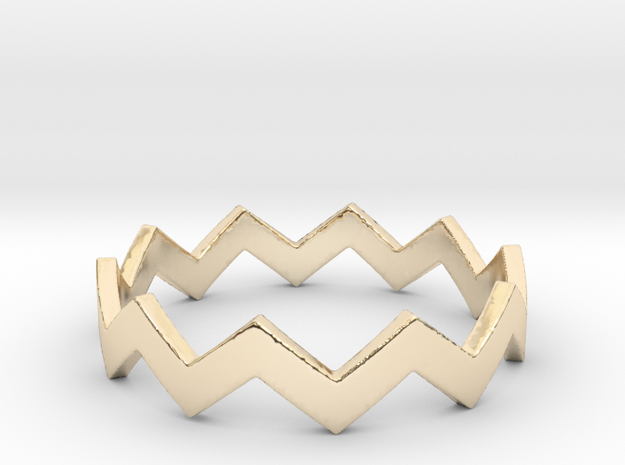 Zig Zag Wave Stackable Ring Size 9 in 14K Yellow Gold