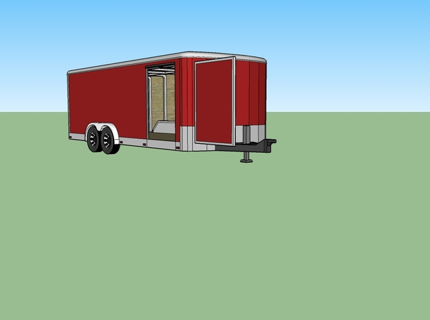 N 20ft Enclosed Trailer in Smooth Fine Detail Plastic