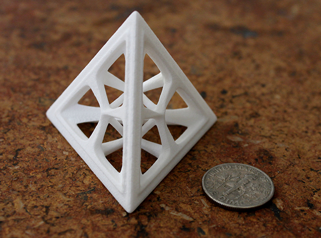 Tetrahedron in White Strong & Flexible Polished: Medium