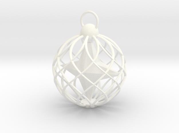 Star Cage Bauble in White Processed Versatile Plastic