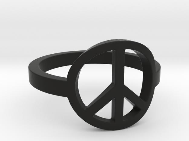 Peace Ring Size 5.5 in Black Natural Versatile Plastic: 5.5 / 50.25