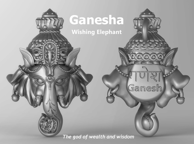 "Ganesha -""Wishing Elephant"" The god of wealth in Natural Silver"