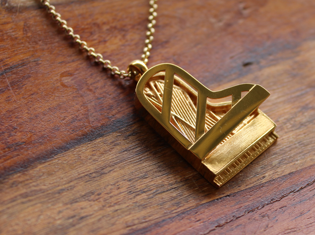 Grand Piano Pendant in 18k Gold Plated Brass